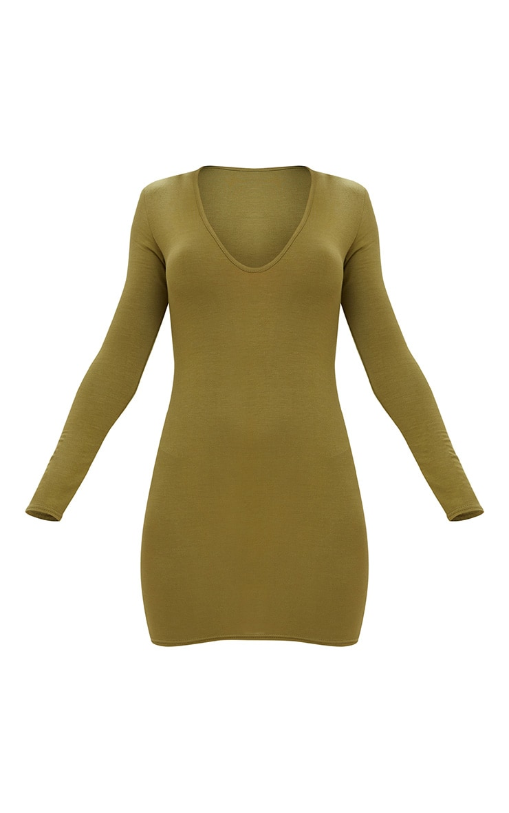 Olive Green Jersey  Extreme Plunge Long Sleeve Bodycon Dress 3