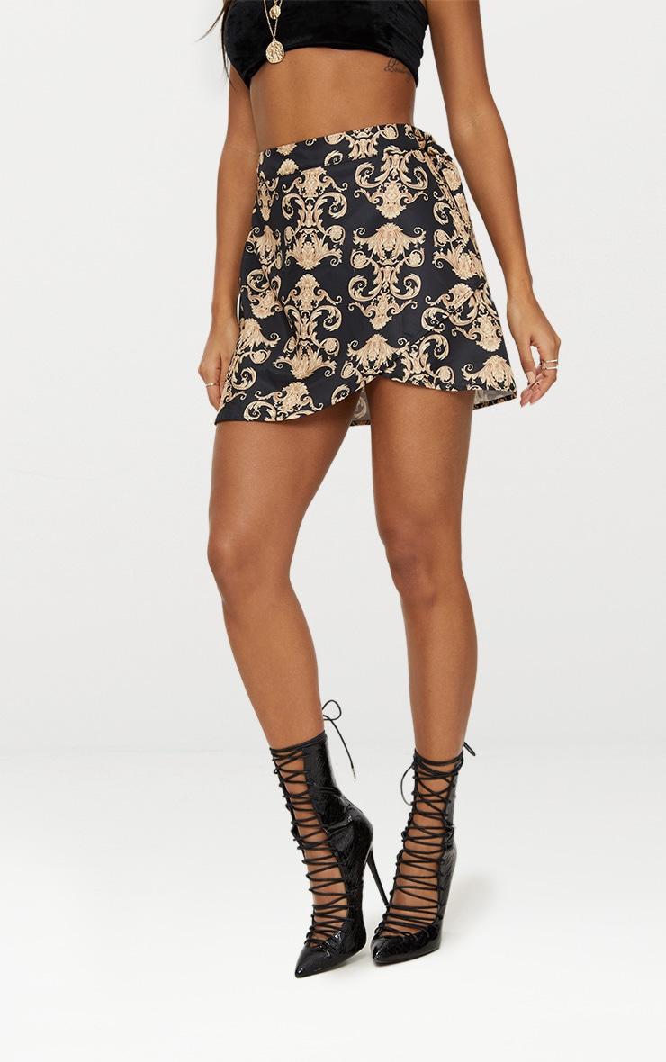 Black Satin Scarf Print Wrap Tie Mini Skirt 2