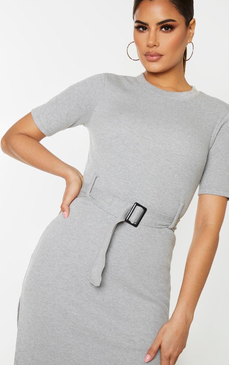 Tall - Robe mi-longue très côtelée grise à détail ceinture 5