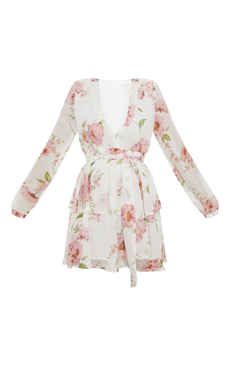 White Floral Chiffon Double Tier Plunge Skater Dress 3