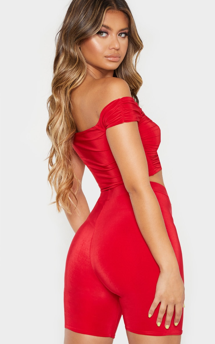 Red Bardot Slinky Lace Up Detail Crop Top 2