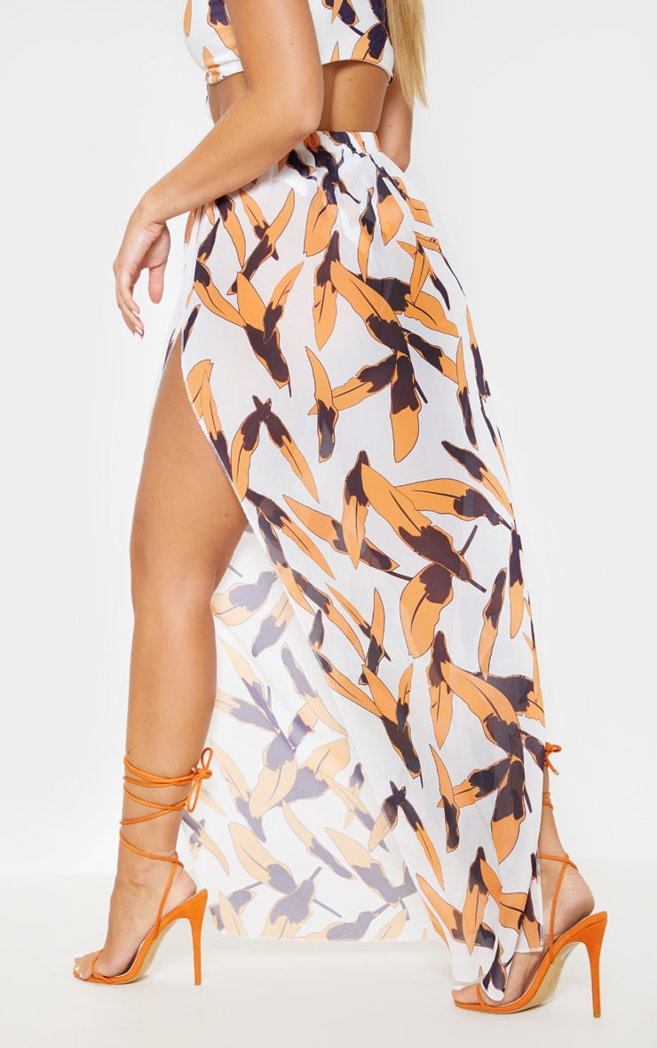 White Tropical Print Chiffon Split Side Maxi Skirt 3