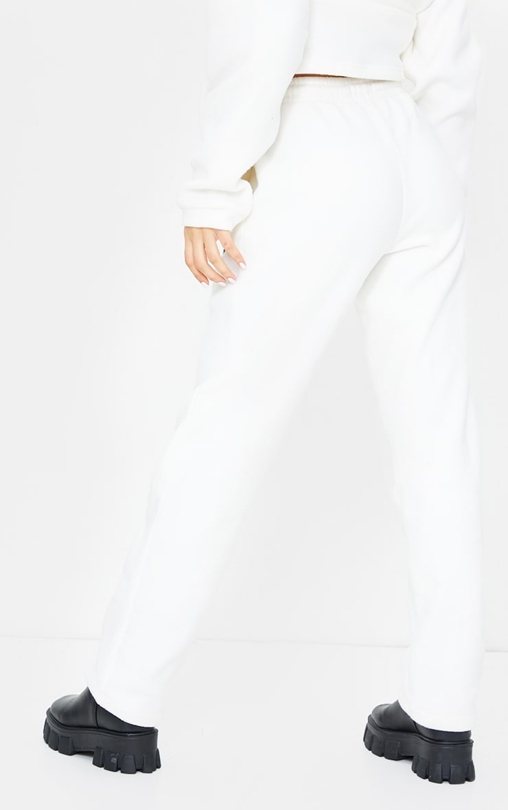 PRETTYLITTLETHING Cream Soft Touch Badge Detail Straight Leg Joggers 3