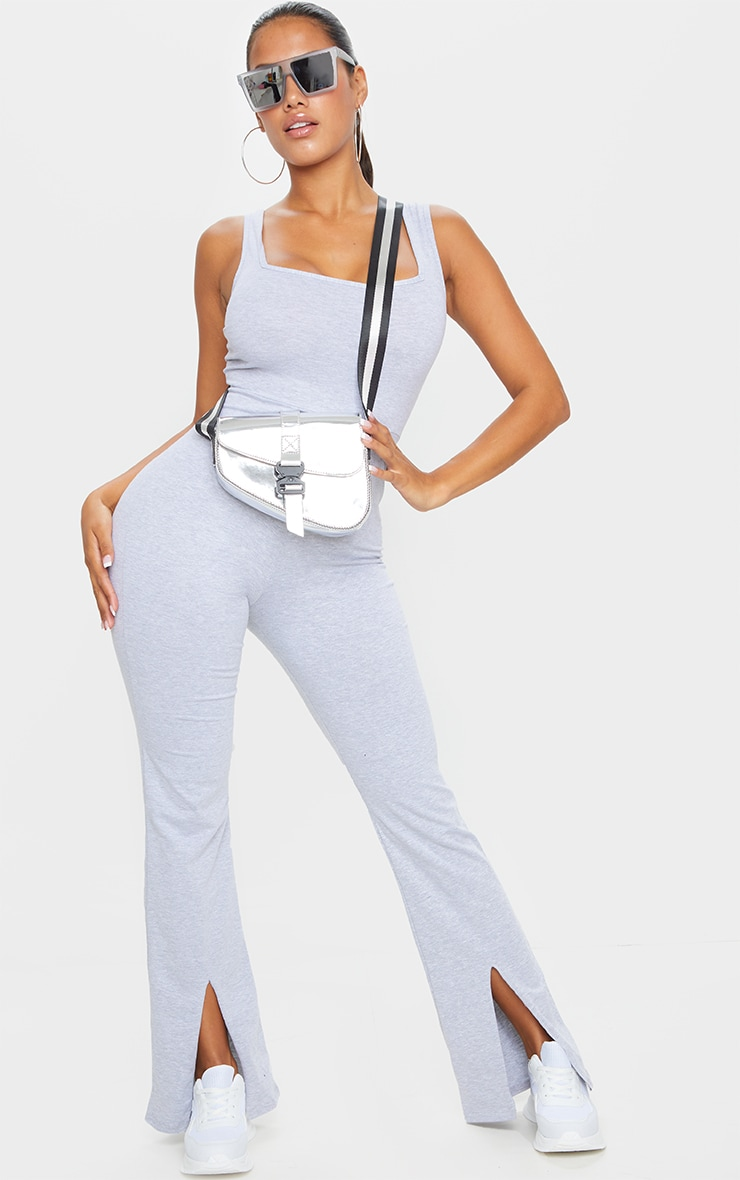 Shape Grey Cotton Square Neck Split Front Jumpsuit 3