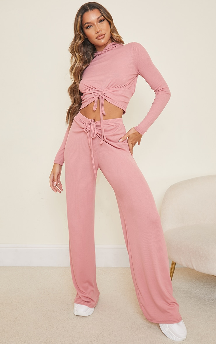 Blush Ribbed Ruched Tie Waist Wide Leg Trousers 1