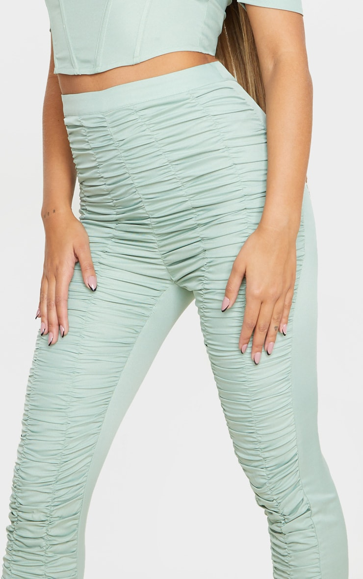 Sage Khaki Woven High Waist Ruffle Seam Front Skinny Trouser 4