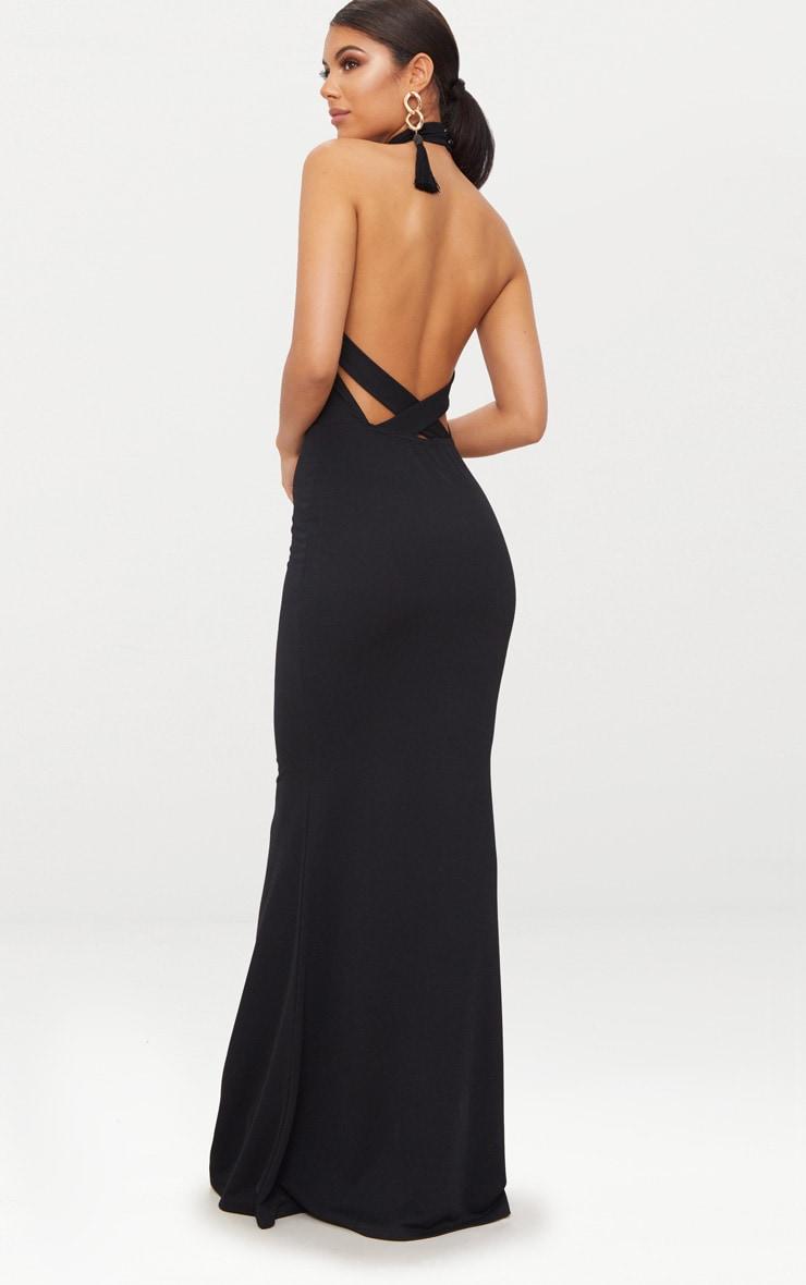 Robe longue noire à col montant et bretelles croisées dans le dos 2