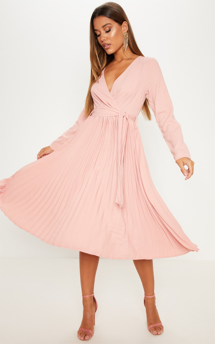 Rose Long Sleeve Pleated Midi Dress 1