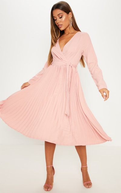 Dress For Wedding Guest.Rose Long Sleeve Pleated Midi Dress