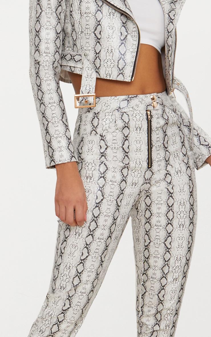 Grey Front Zip Snake Print Trouser  4