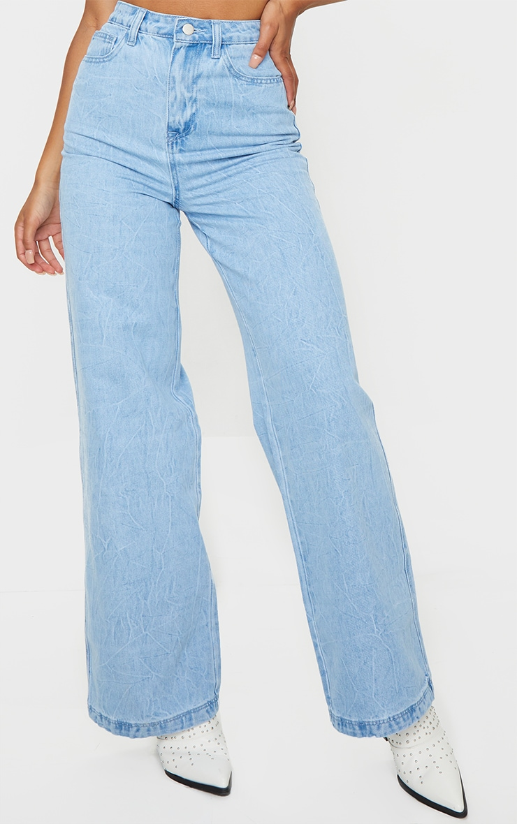 Acid Blue Wash Wide Leg Jeans 2
