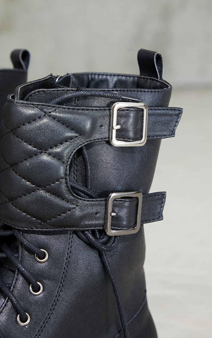 Black PU Quilted Buckle Strap Chunky Boots 4