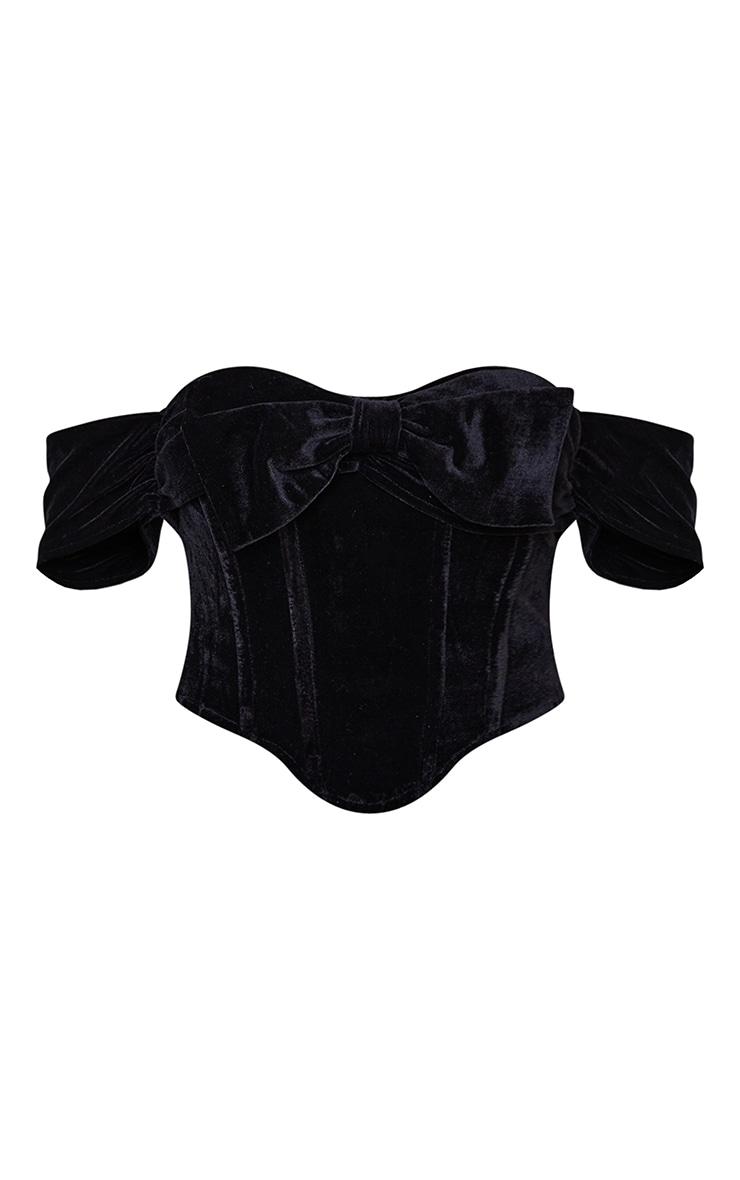 Petite Black Velvet Bow Detail Corset 5