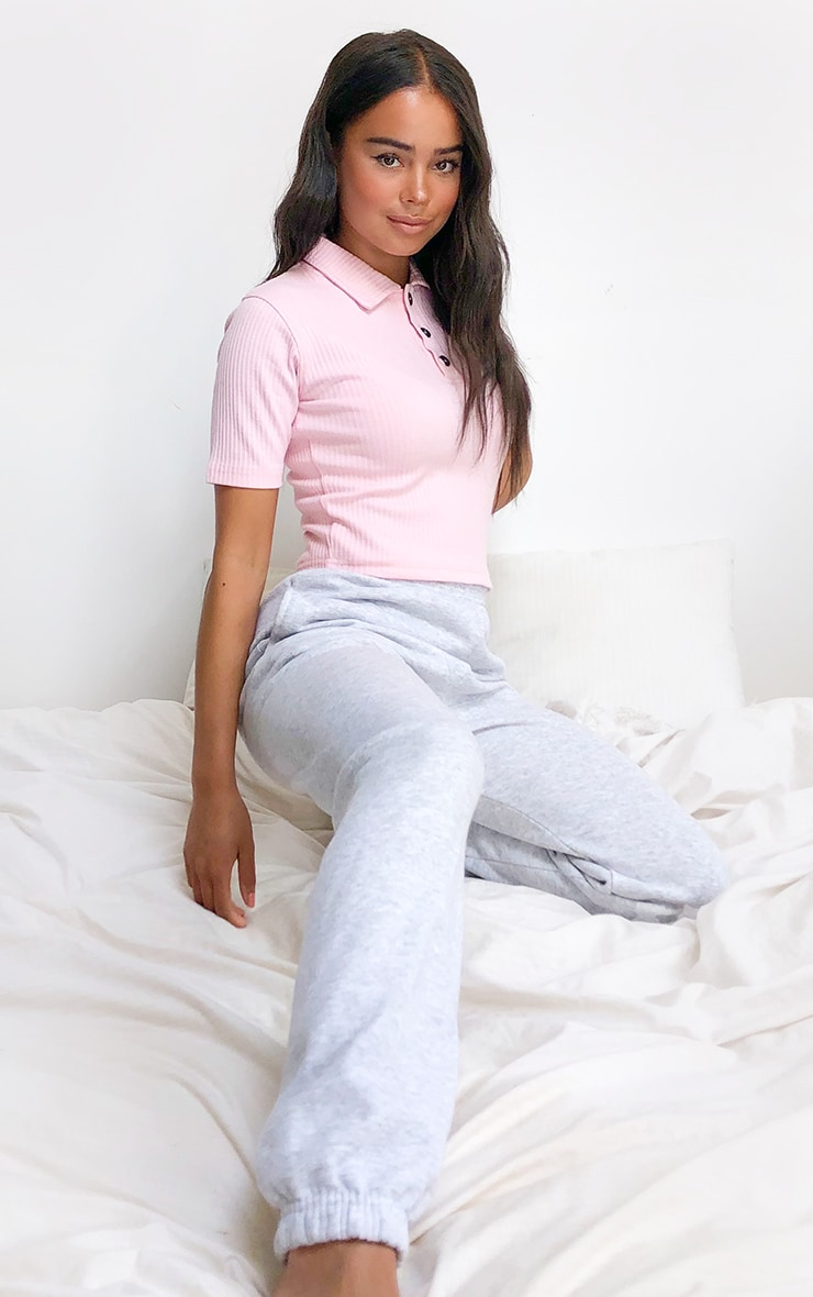 Baby Pink Structured Rib Polo Top 3