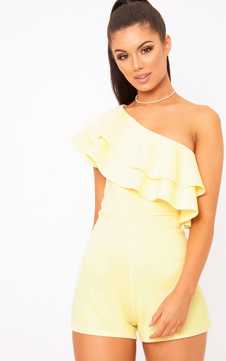 Yellow One Shoulder Frill Detail Playsuit 1