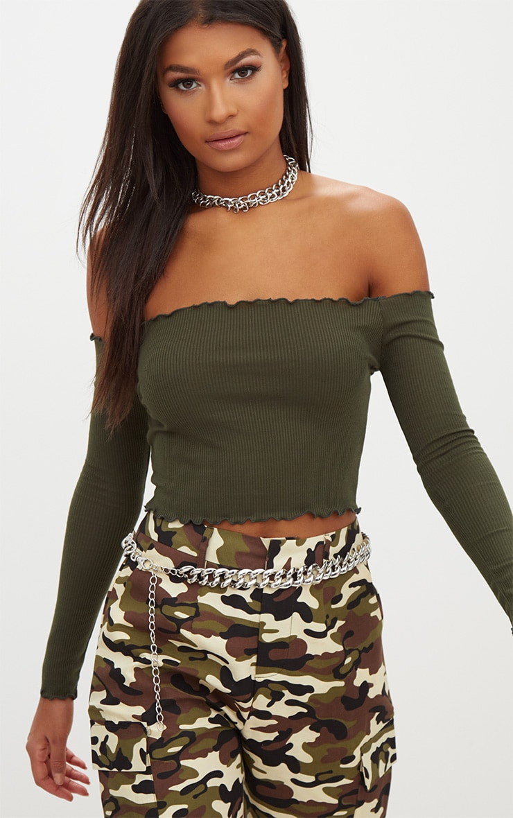 Khaki Rib Frill Edge Crop Top 1