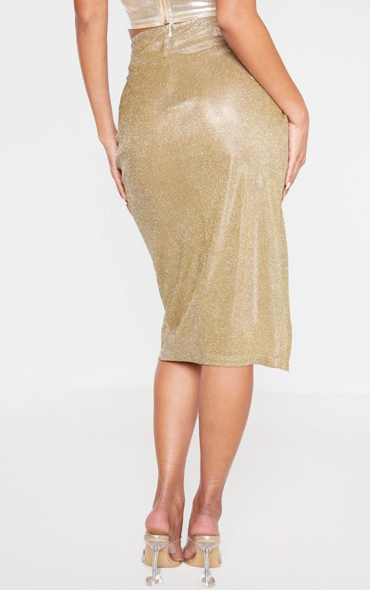 Gold Glitter Knot Front Midi Skirt 4