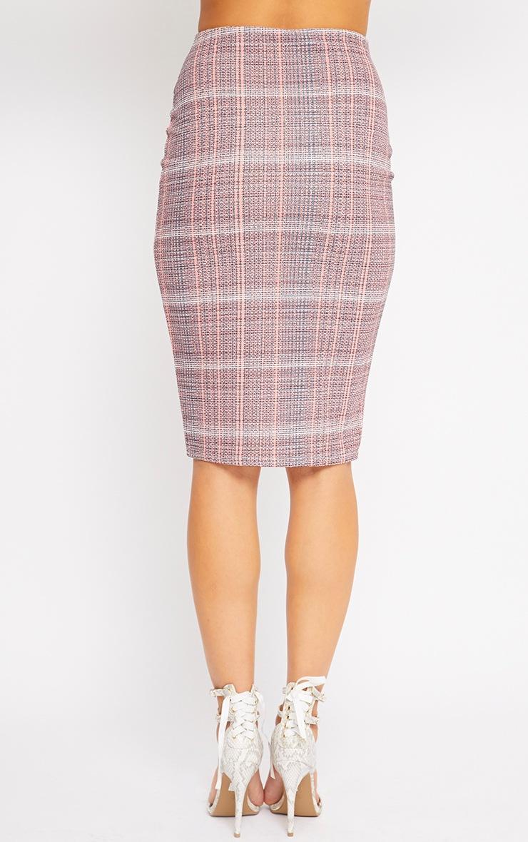 Cleo Coral Checked Midi Skirt 2