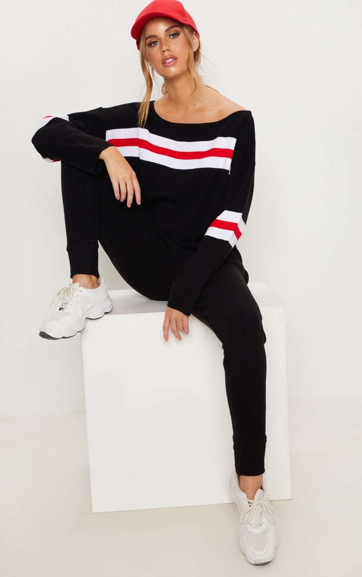 Black Striped Knitted Lounge Set