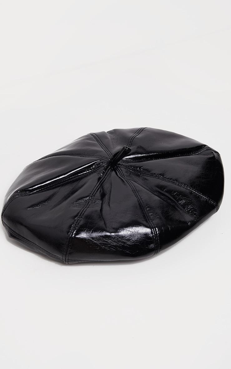 Black Patent Beret Hat 2