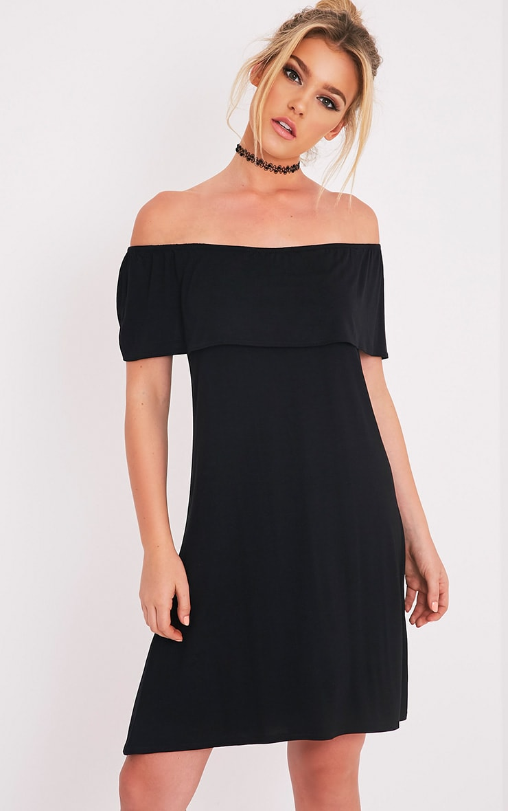 Rachel Black Jersey Bardot Swing Dress 1