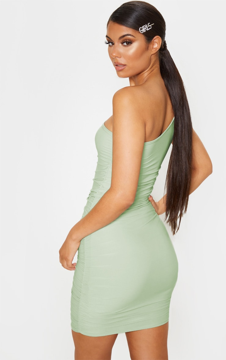 Sage Green Slinky One Shoulder Ruched Bodycon Dress 2