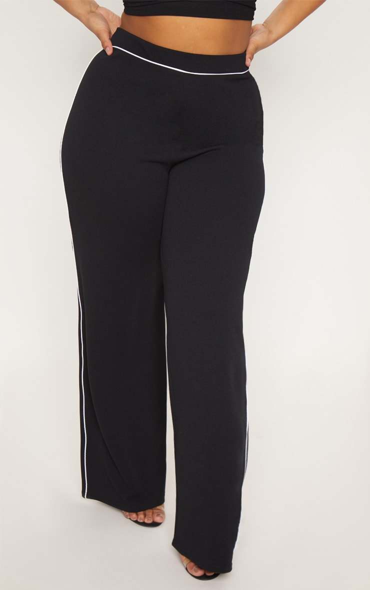 Plus Black Contrast Seam Detail Wide Leg Trousers 2