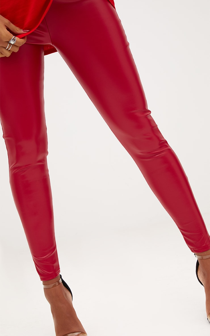 Red Faux Leather Highwaisted Leggings 5