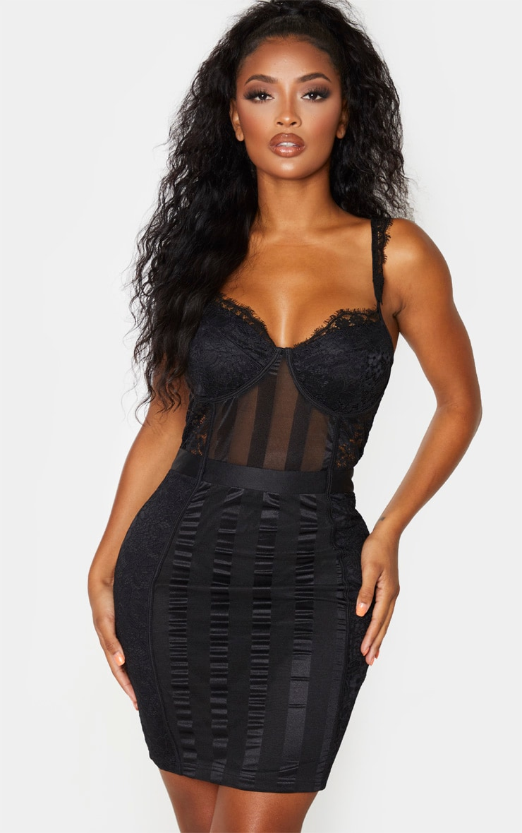 Shape Black Lace Mesh Stripe Strappy Bodycon Dress 4