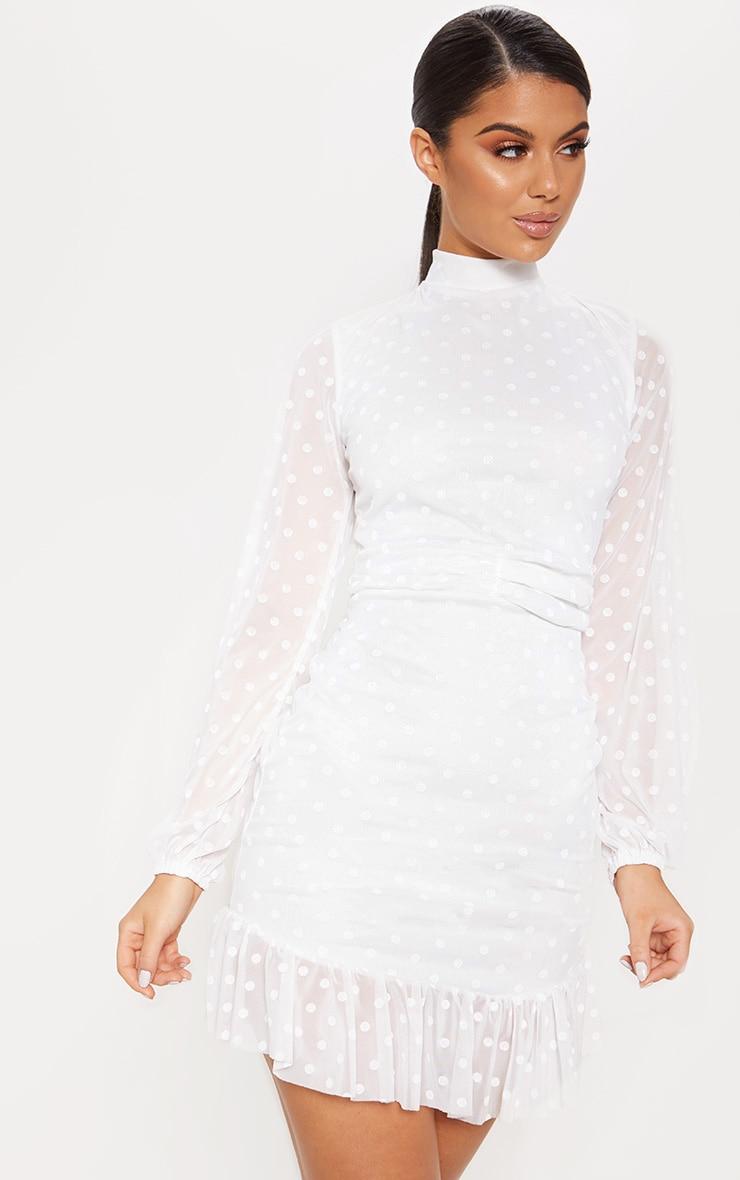 White Mesh Long Sleeve Ruffle Hem Bodycon Dress 1
