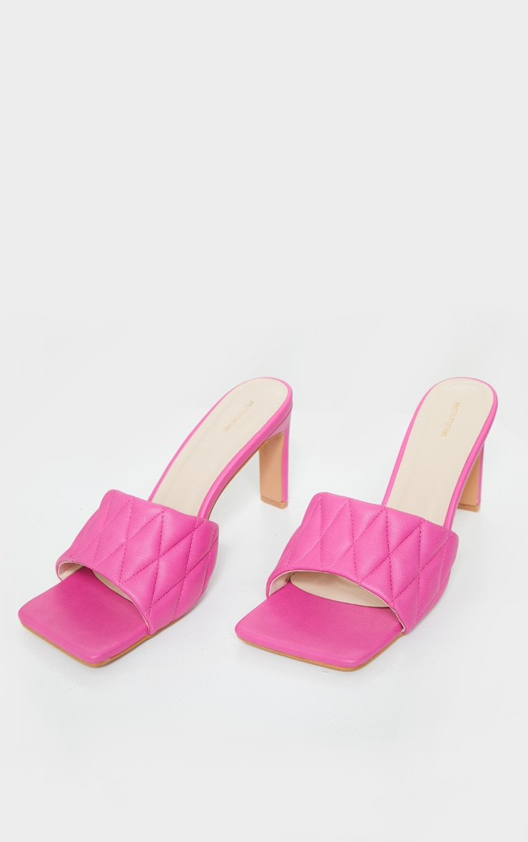 Pink Extreme Square Toe Quilted Strap Mule Heel 3
