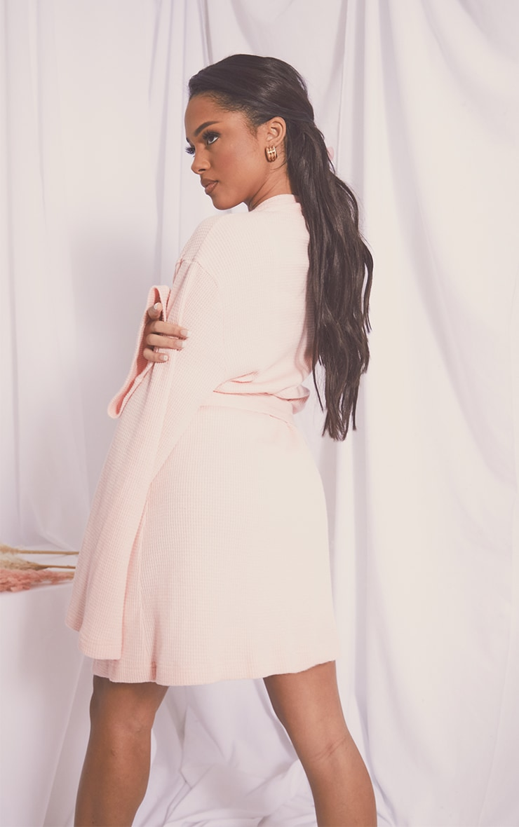 Pink Soft Waffle Dressing Gown 2