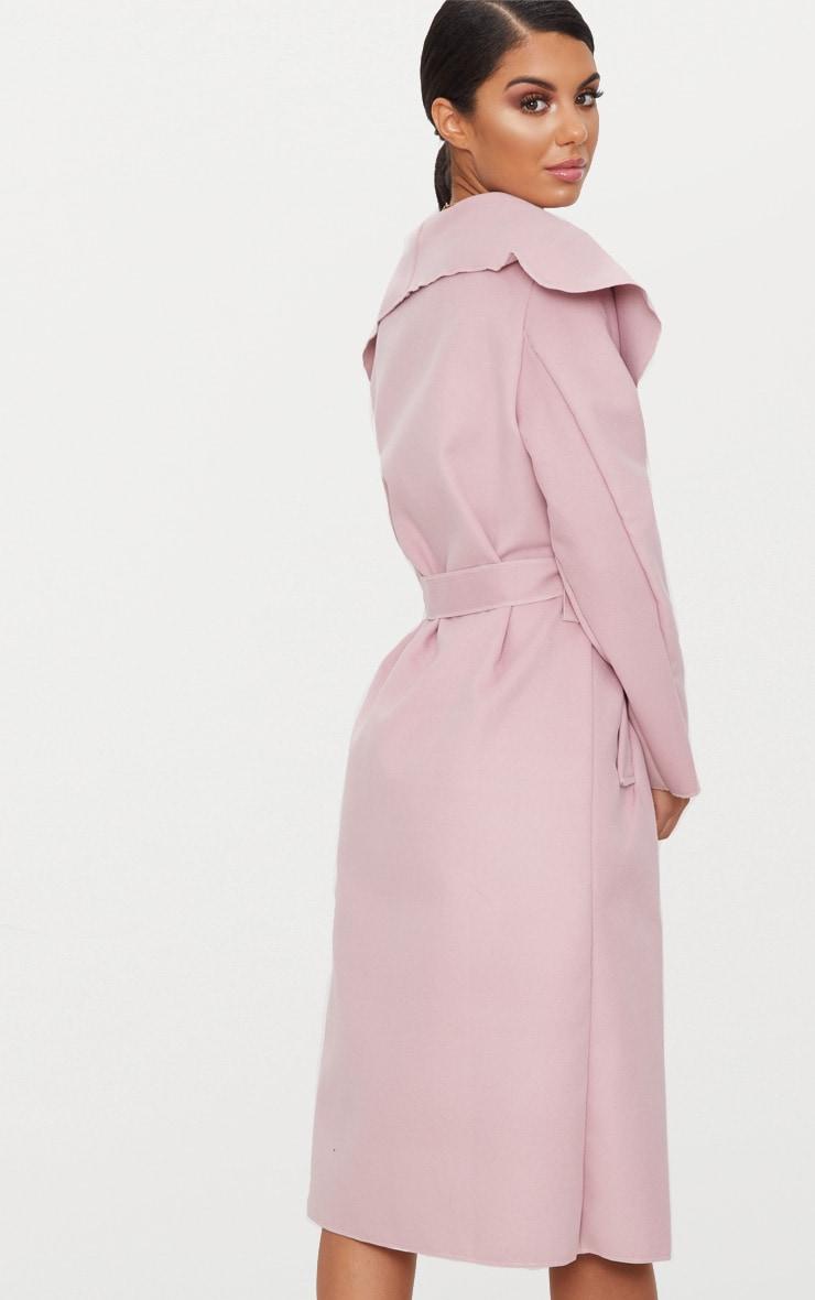 Veronica Dusty Pink Oversized Waterfall Belt Coat 2