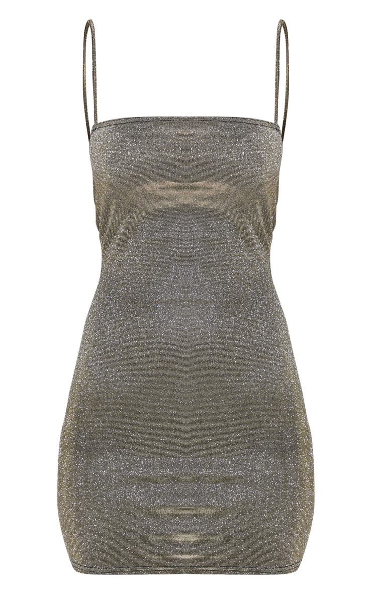 Gold Glitter Strappy Square Neck Bodycon Dress 3