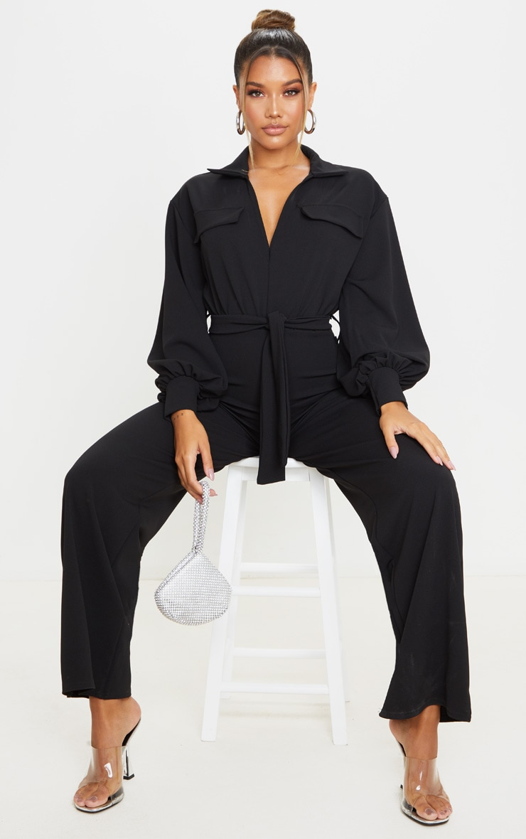 Black Oversized Shirt Style Tie Waist Jumpsuit 1