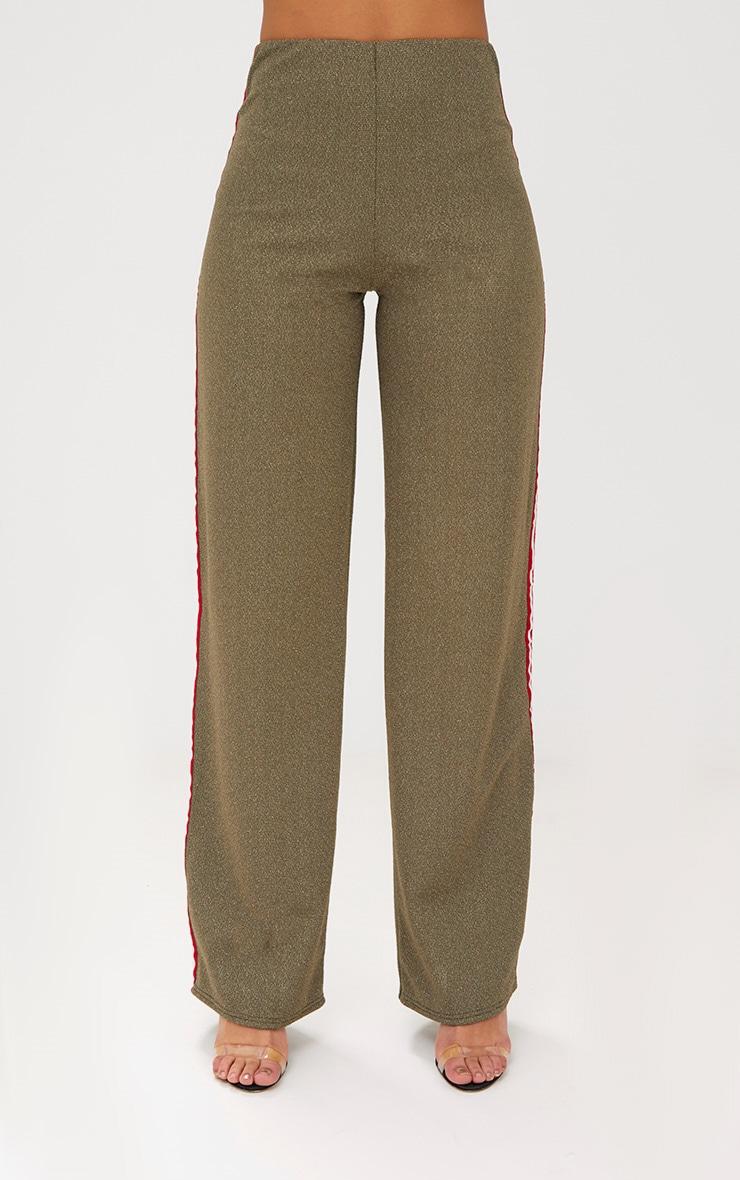 Khaki Lurex Sport Stripe Wideleg Trousers 2