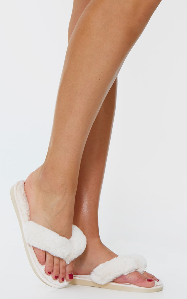 Cream Fluffy Flip Flop Slippers 2