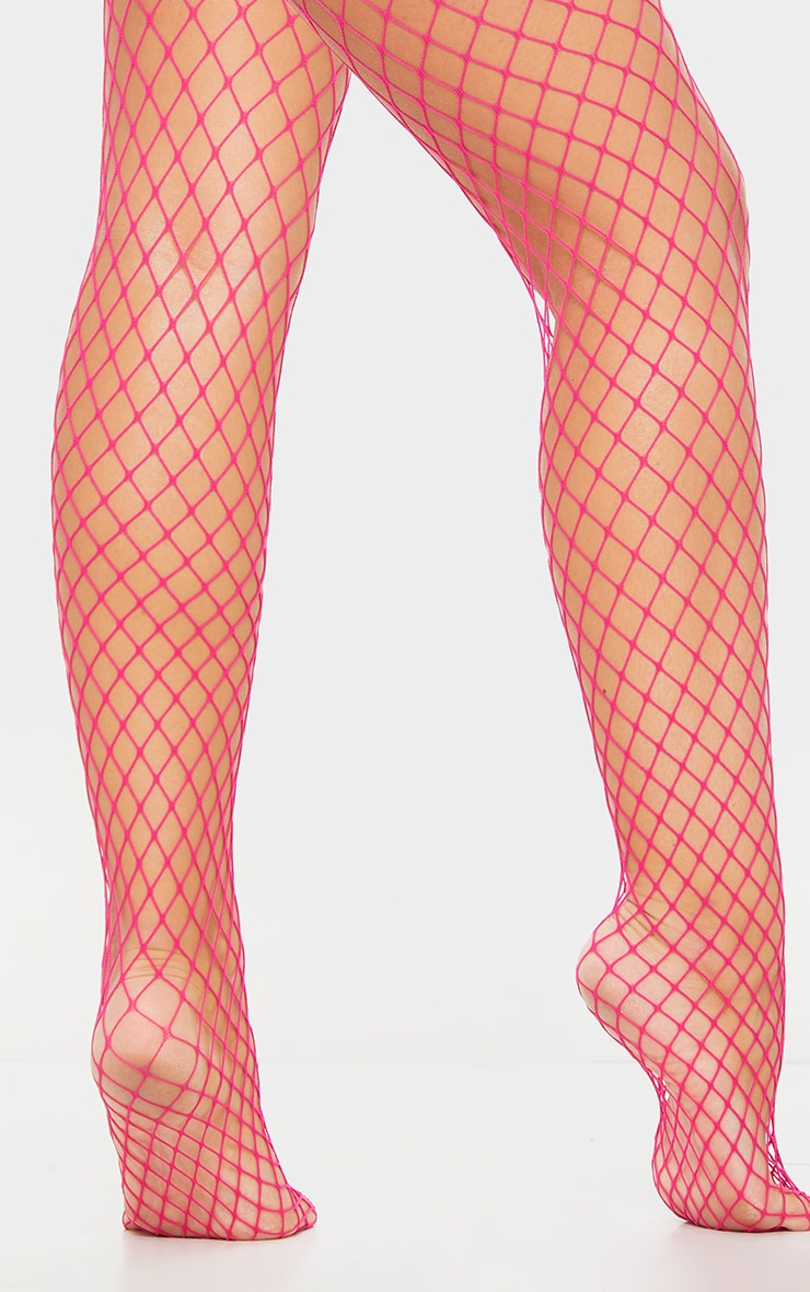 Pink Large Fishnet Tights 2