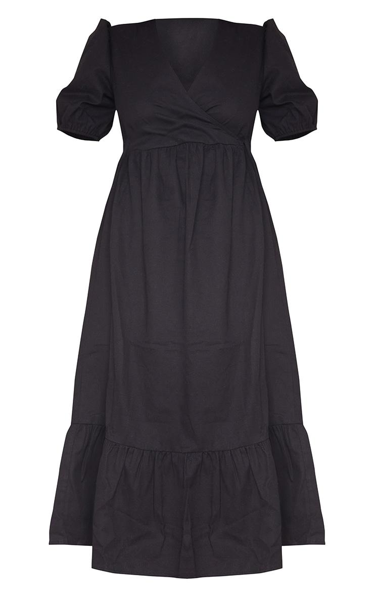 Black Woven Wrap Tie Detail Puff Sleeve Smock Midi Dress 5