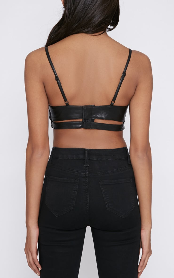 Christy Black Leather Bralet  2