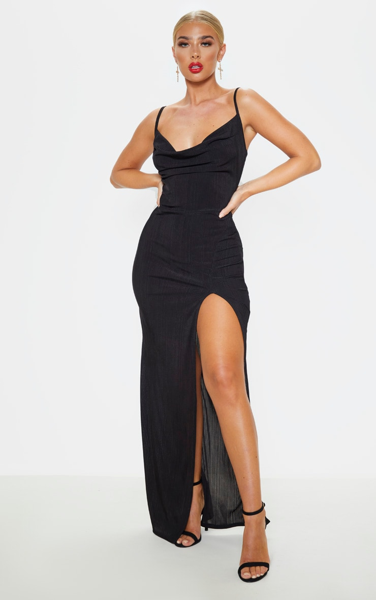 Black Strappy Plisse Cowl Neck Maxi Dress 1