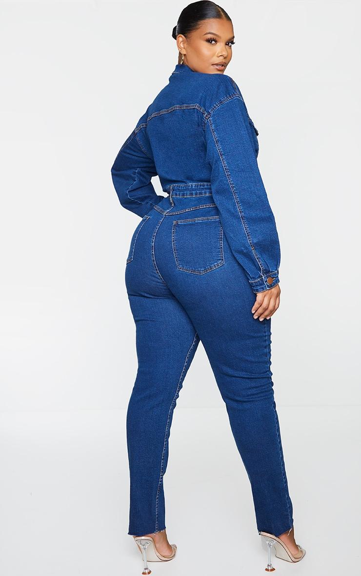 Plus Mid Blue Wash Denim Zip Front Jumpsuit 2