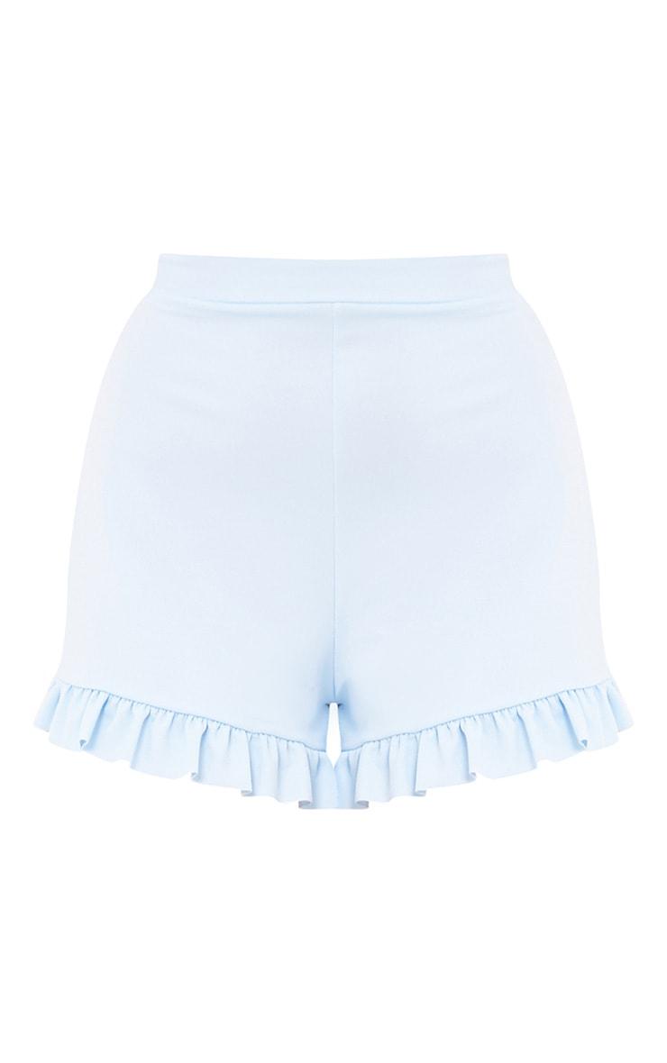 Baby Blue Frill Hem Shorts  2