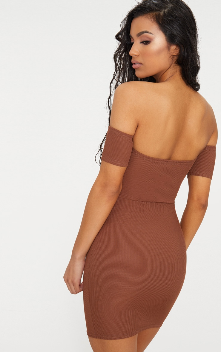 Brown Bardot Popper Detail Bodycon Dress 2