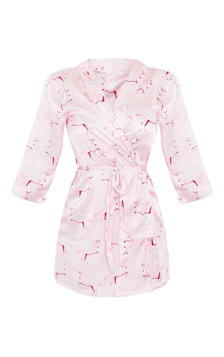 PRETTYLITTLETHING Pink Satin Unicorn Print Robe 5