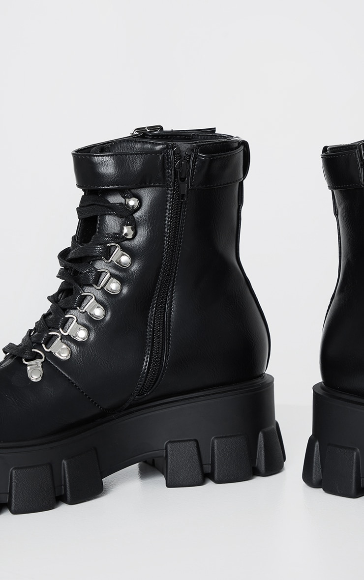 Black Heavy Sole Cleated Lace Up Hiker Boot 4