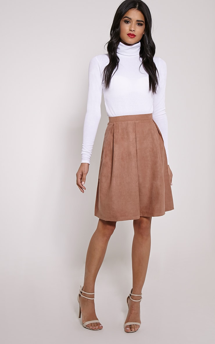 Teagon Tan Pleated Faux Suede A-Line Midi Skirt 5