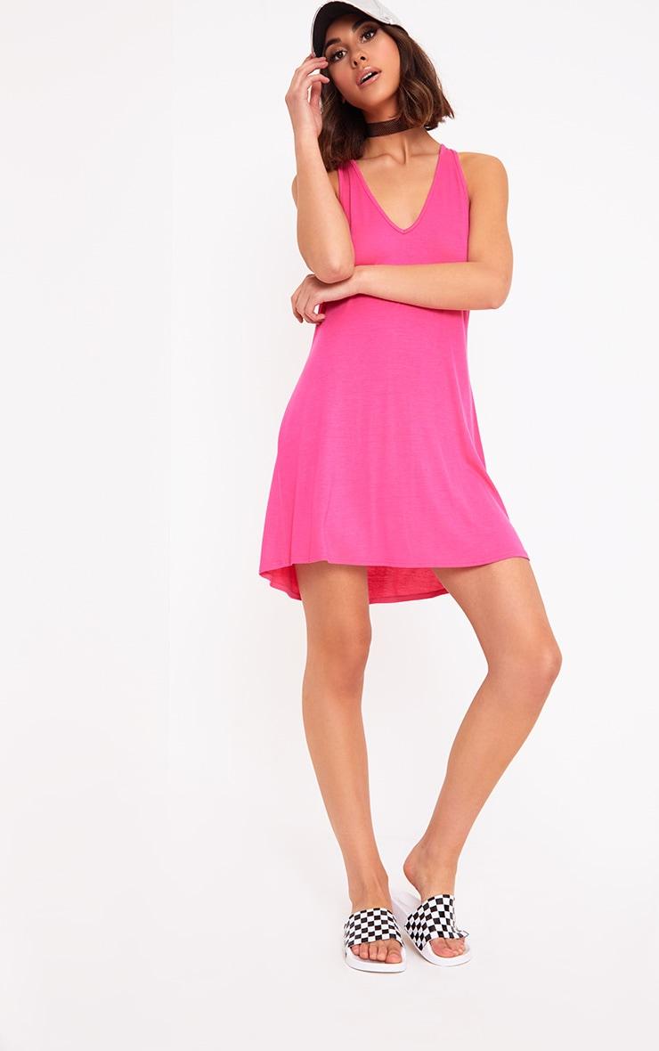 Fuchsia Jersey V Plunge Sleeveless Shift Dress  4