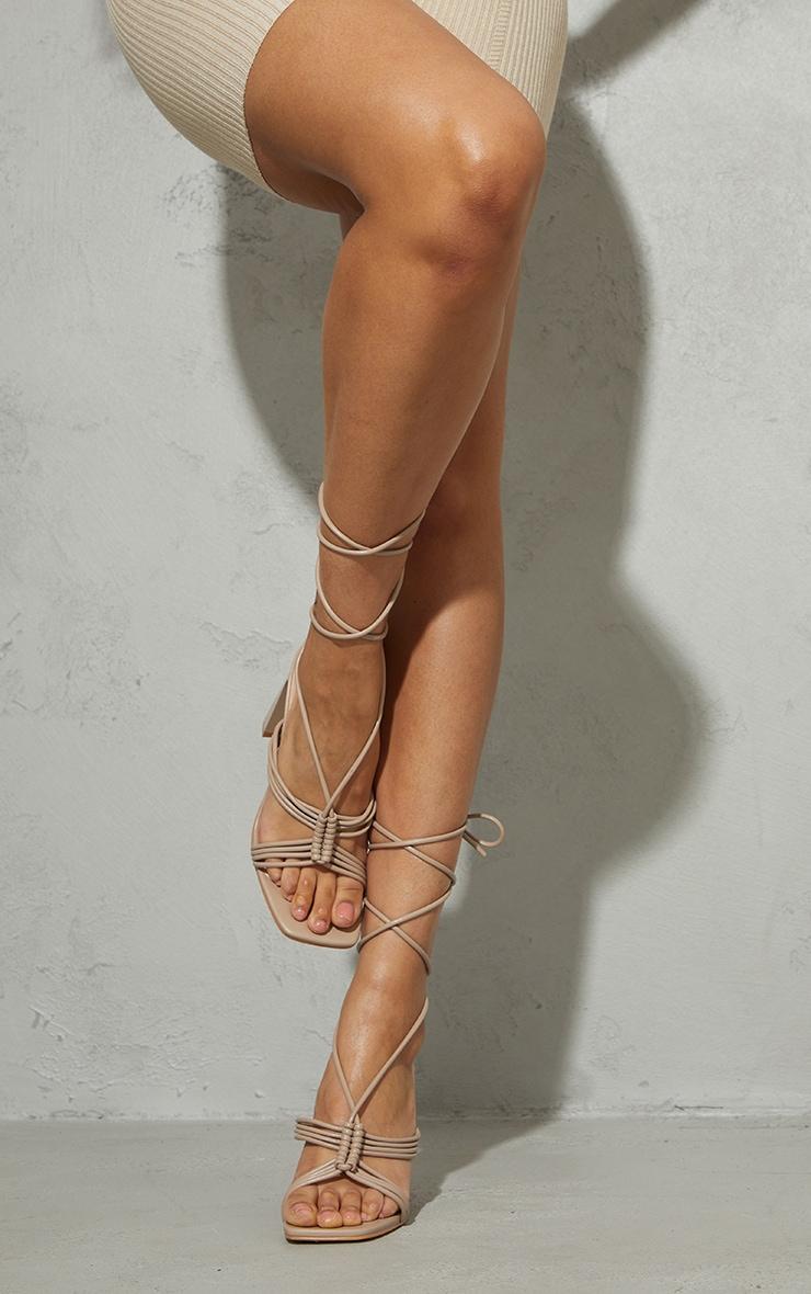 Stone PU Knot Lace Up Flat Mid Heeled Sandals 2