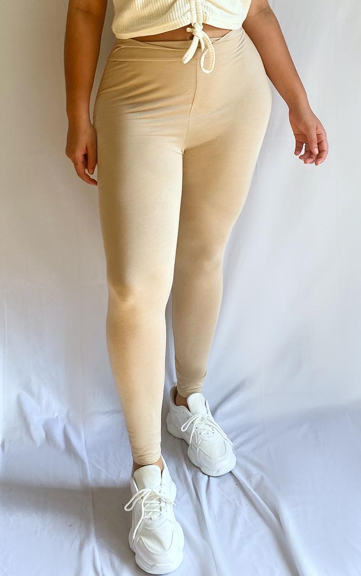 Plus Stone Basic High Waisted Jersey Leggings 2